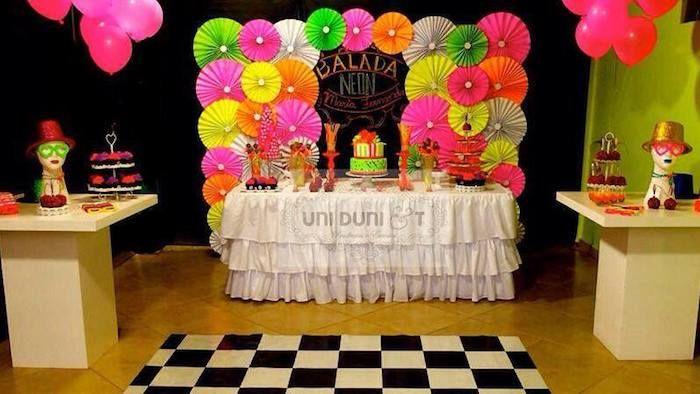 Neon Themed Birthday Party Via Kara S Ideas Karaspartyideas Cake Printables Supplies