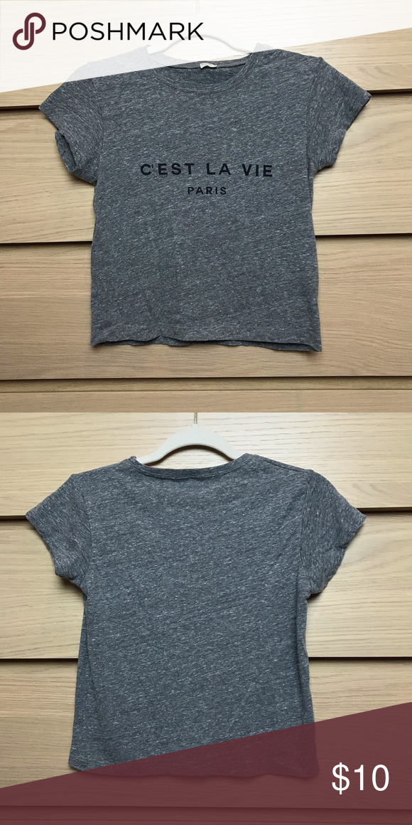 "ea5fe82886fc0 Brandy Melville Grey C'est La Vie Cropped Tee Grey ""c'est la vie paris""  cropped shirt from Brandy Melville. Soft material, no stains or flaws,  cropped below ..."