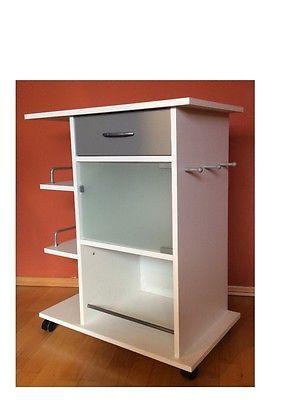 k chenwagen k chenregal wei auf rollen servierwagen beistellwagen rollwagen ebay w o h n. Black Bedroom Furniture Sets. Home Design Ideas