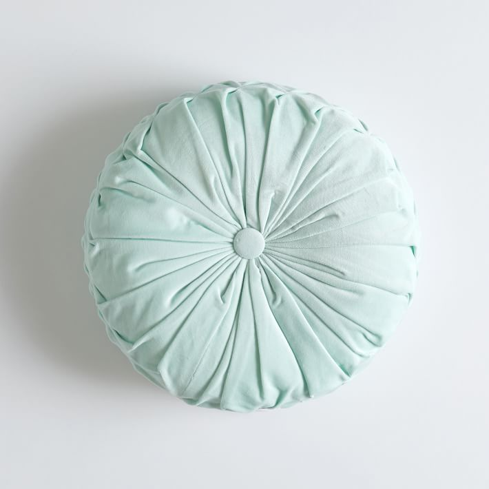 Velvet Pleated Round Pillow, O/S, Icy Aqua - blue - shaped - Bedding - Decorative Pillows - Pottery Barn Teen