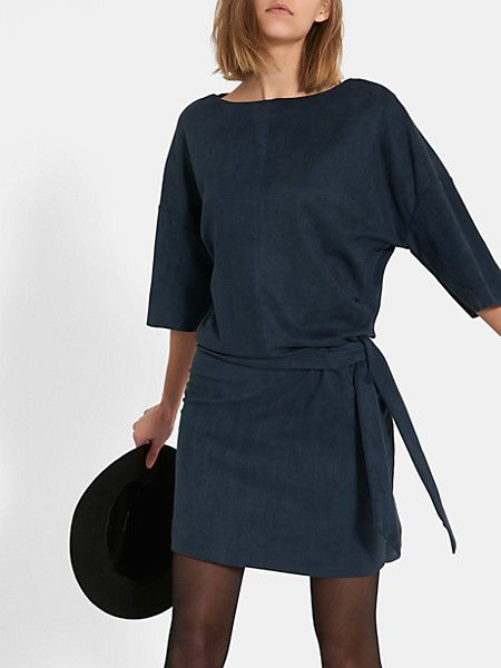 suede jurk donkerblauw - costes fashion | dress&shirtdress ..and