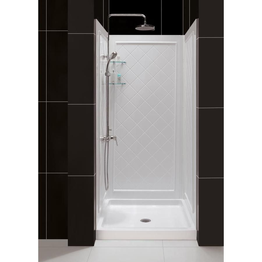 Dreamline Qwall 5 White 2 Piece Alcove Shower Kit Common 32 In X 32 In Actual 32 In X 32 In Lowes Com Shower Installation Shower Base Shower Kits