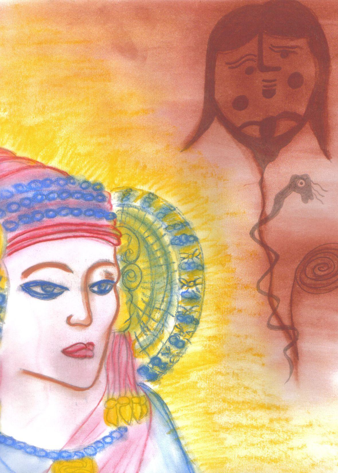 """La Dama de Elche. Imagen del libro-agenda """"Diosas de Sangre y de Sol"""", por Sandra Román."""