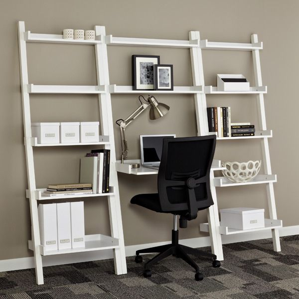 White Linea Leaning Bookcase Leaning Desk Shelving Desk Furniture