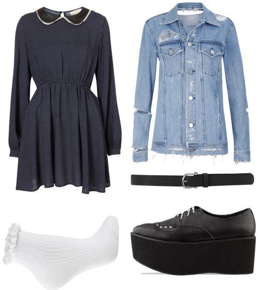 Peter pan collar dress, jean jacket and flat forms.