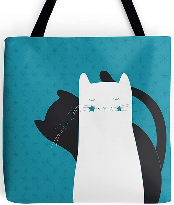 Tote Bags Blue Black White Cats Kitty And Purses