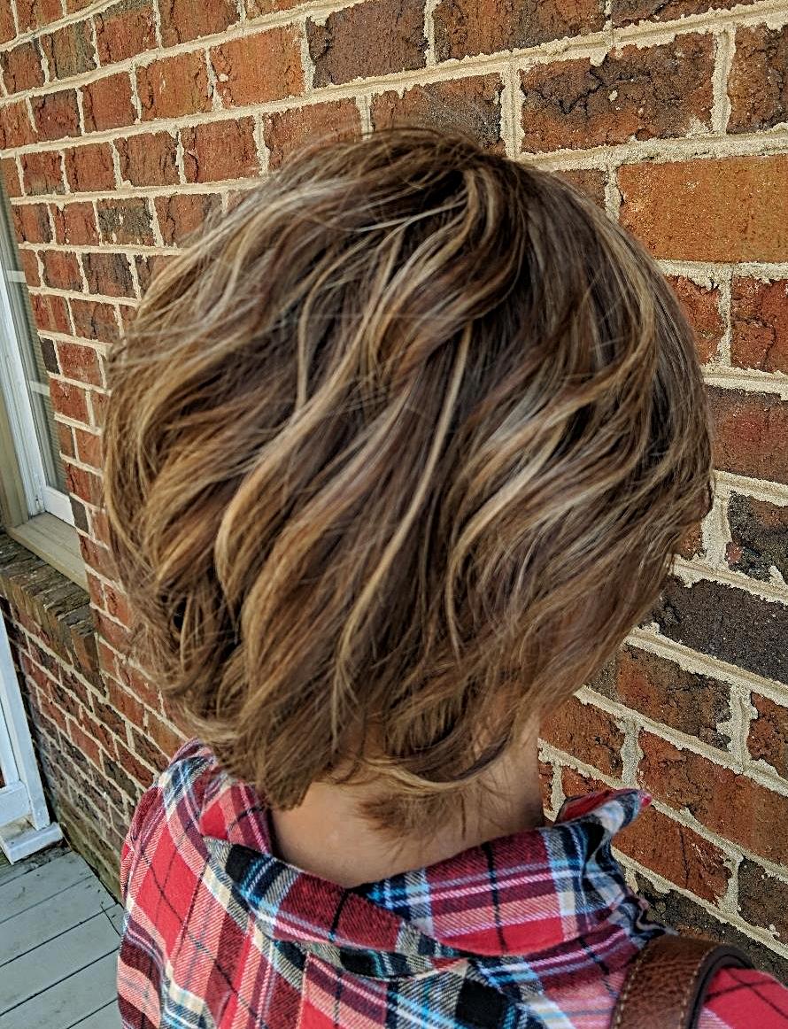 - Balayage highlights medium length hair $150 Color through the hair with painted on highlights ...
