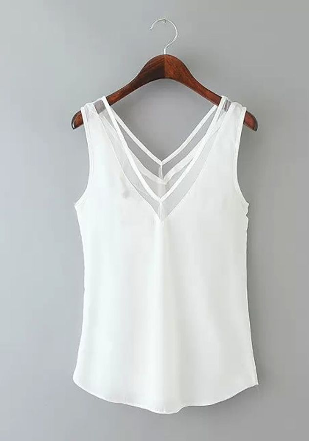 760d5618fde413 Womens Chiffon Sleeveless Top Blouse | Womens Dressy Tank Tops ...