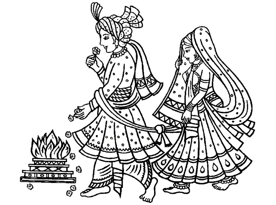 Free coloring page coloring-adult-mariage-indien