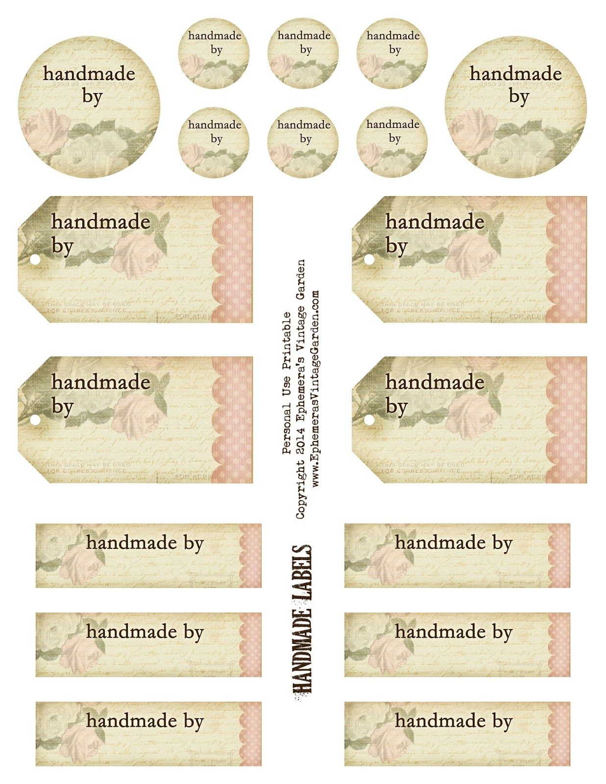 free printable - 'handmade by' tags and labels (ephemera's vintage