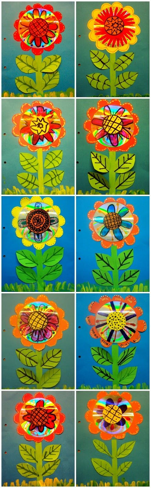 These are the covers of the second quarter: a flower of spring with recycled material.    Equipment needed:    - A blue cardboard folio size.  - Papers colors: red, yellow, orange and green.  - Old CD's (one per child).  - Painting green (two shades).  - Permanent markers assorted colors.  - Pencils, scissors and glue stick.