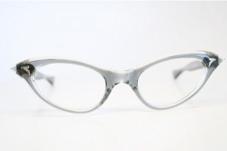 fbc2411feb6 Small Vintage Cat Eye Glasses Gray NOS