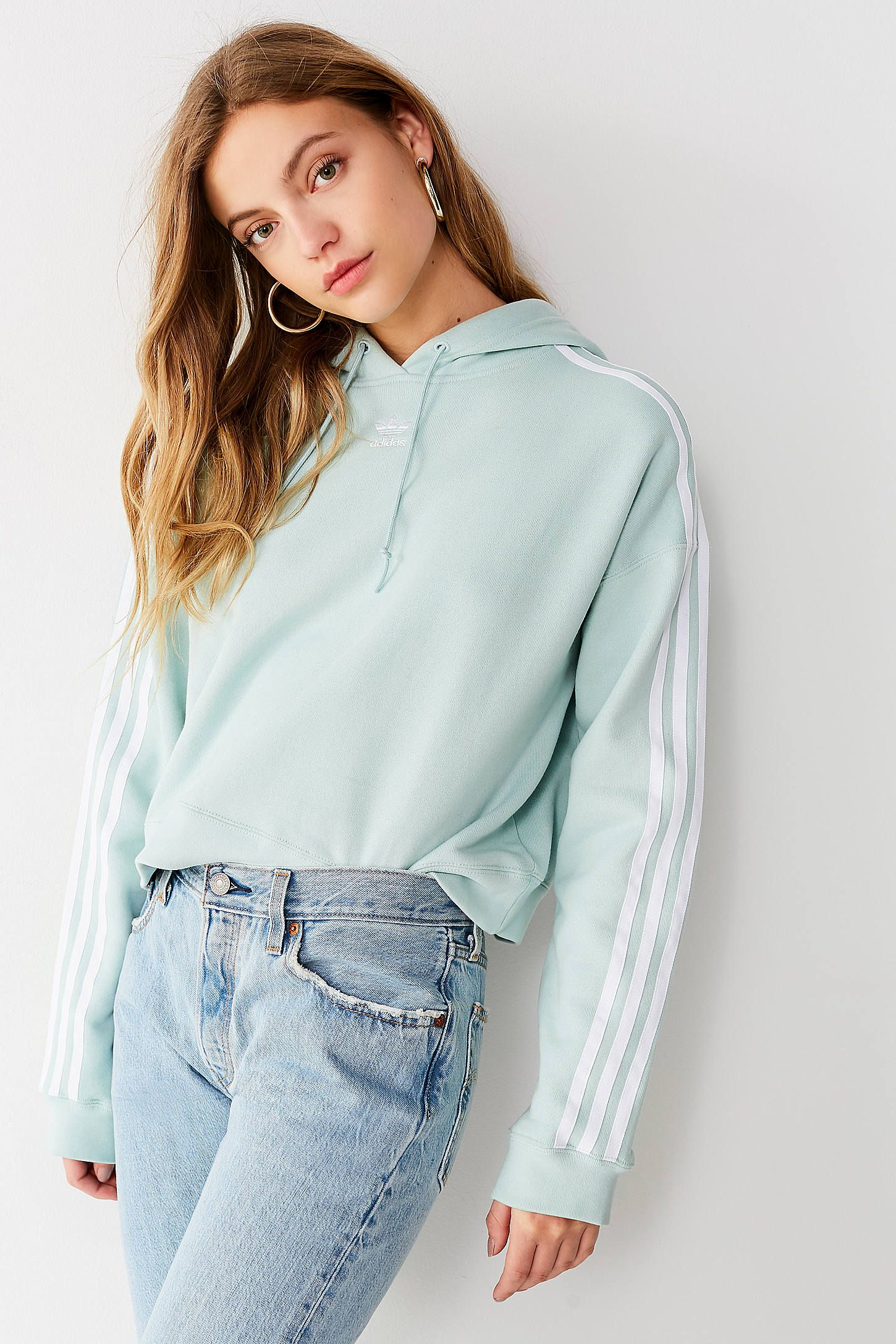4f234a9bd3842c adidas Originals Adicolor 3 Stripes Cropped Hoodie Sweatshirt | Urban  Outfitters