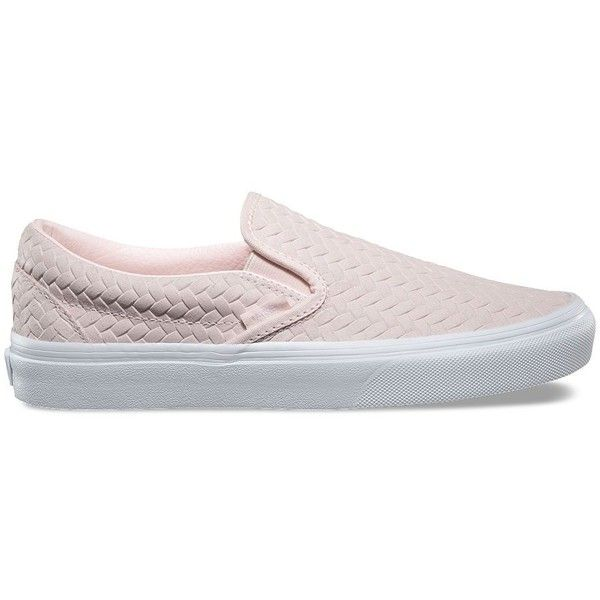 Vans Embossed Woven Suede Slip-On ($60) ❤ liked on Polyvore featuring shoes, sneakers, pink, vans trainers, vans sneakers, slip on shoes, pink suede shoes and slip-on shoes