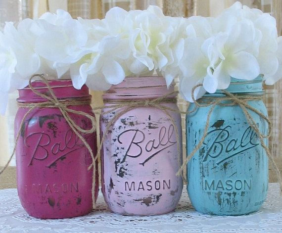 Superb Mason Jars, Painted Mason Jars, Rustic Wedding Centerpieces, Baby Shower  Decorations, Dark