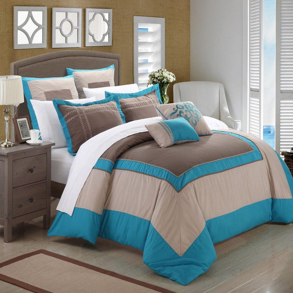 Ballroom Teal Grey u Brown Piece Comforter Bed In A Bag Set