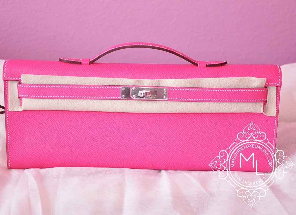 Hermes Rose Tyrien Pink Epsom Kelly Cut Pochette Mini Clutch - New 6d3cc6dbe0177
