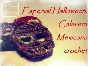 Especial Halloween: aplique calavera mexicana a crochet (zurdo)