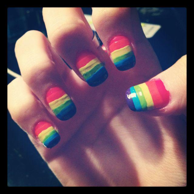 Gay pride nail art!! (MY NAILS)