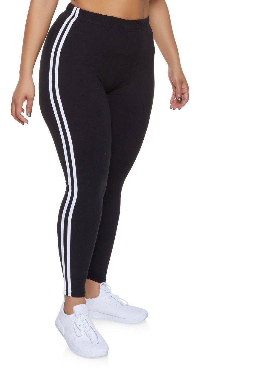 55850588426 Plus Size Varsity Stripe Leggings - Black - Size 1X