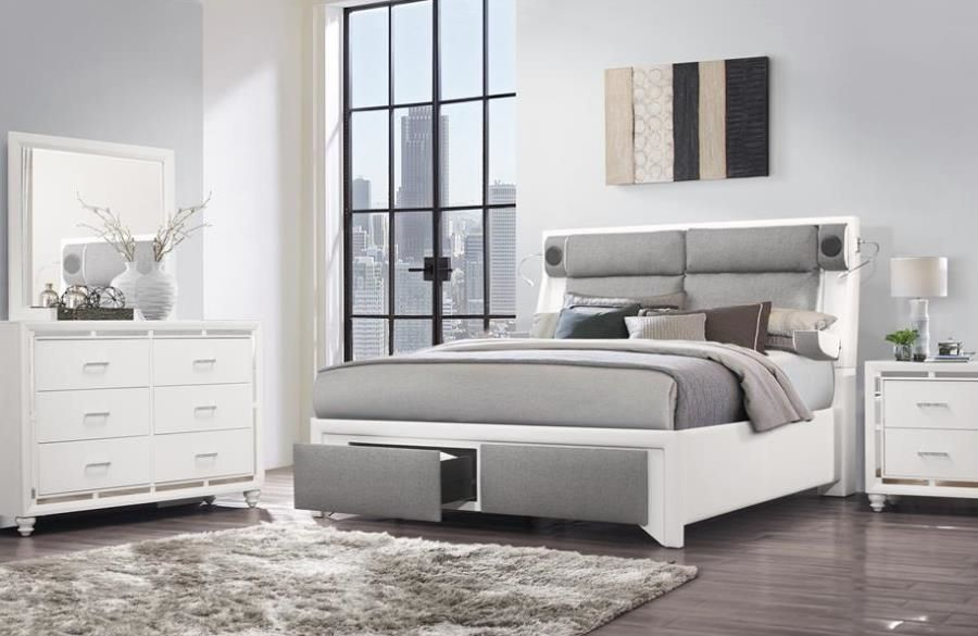 Global Usa G9652 White Gray Gray White Upholstered King Bed W