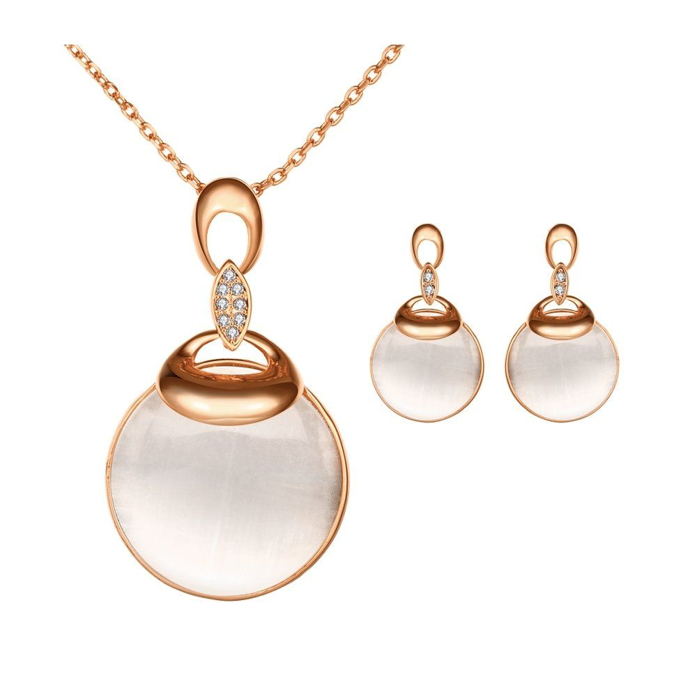Womens Jewelry Set Gold Plated Necklace and Earrings Set Rose Gold Round Stone Wedding Gift Adisaer