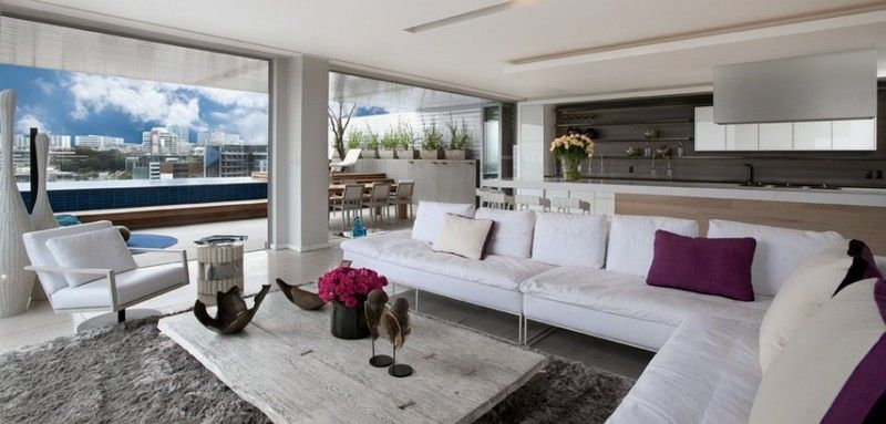 Living Room Of Modern And Luxury Three Level Penthouse