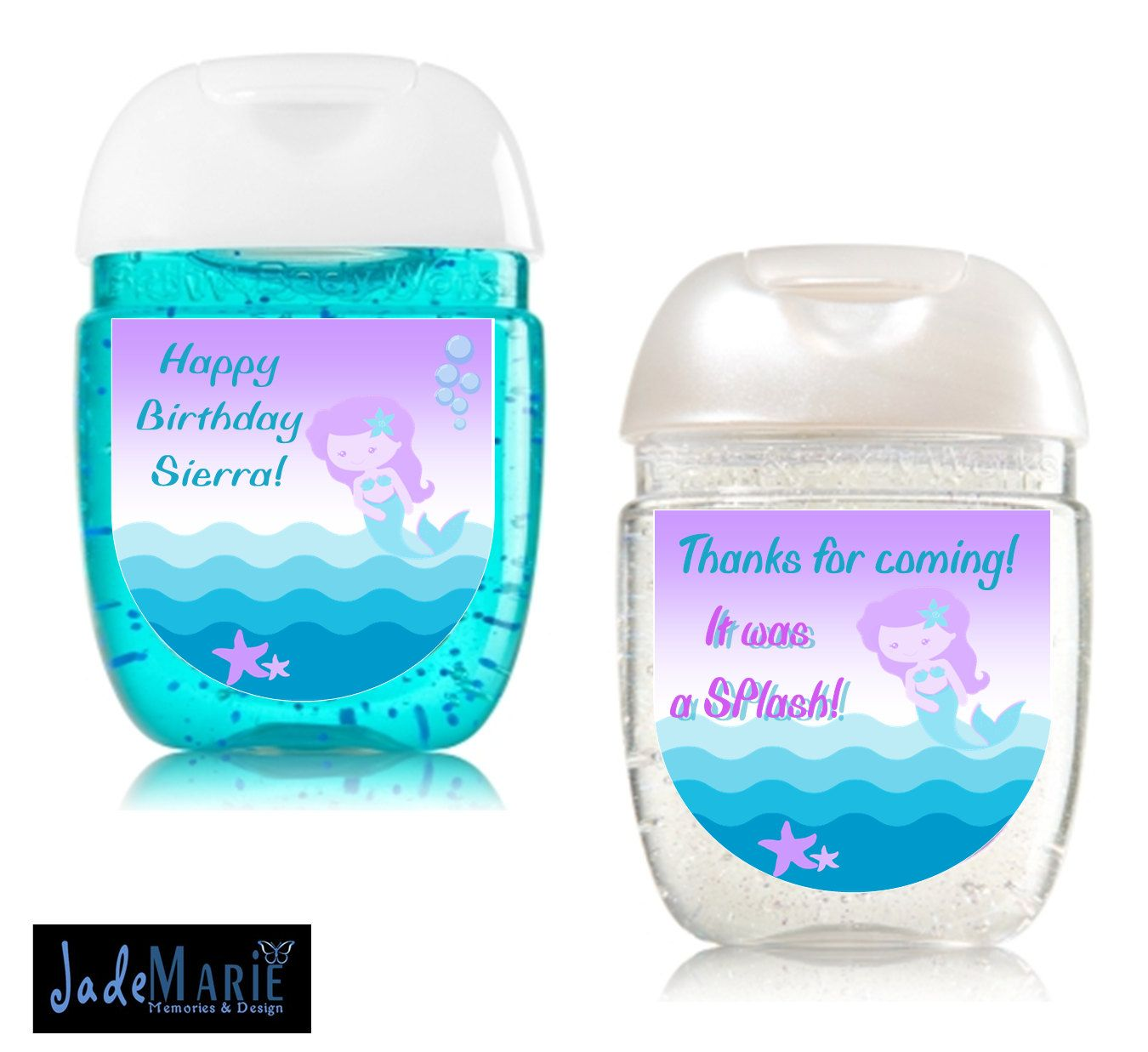 Mermaid Hand Sanitizer Labels Favors Birthday Party Favors