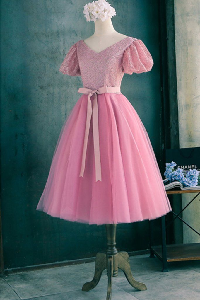 Beautiful pink organza Princess V-neck A-line lace up knee-length ...