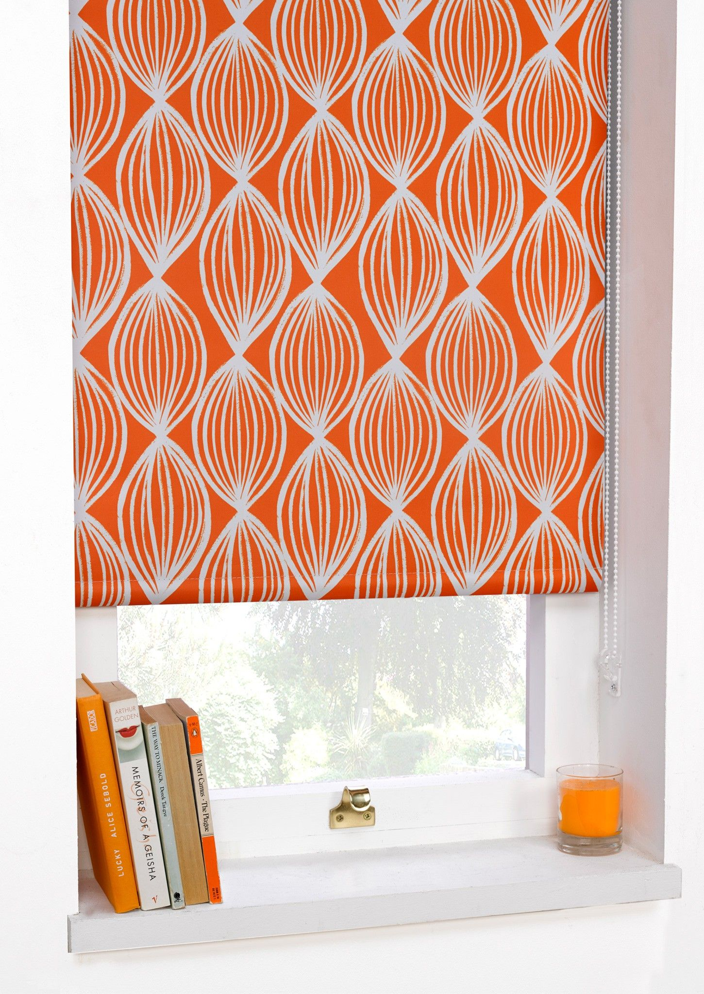 Printed Blackout Roller Blinds Scuba Orange  Art Deco Ready