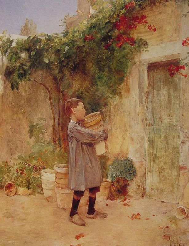 Boy with Flower Pots, Frederick Childe Hassam