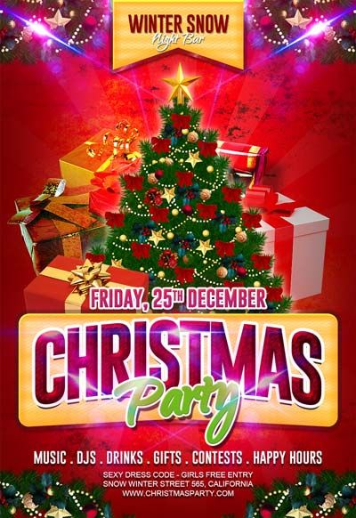 Free Christmas Party Flyer Template - http\/\/freepsdflyer\/free - event flyer templates