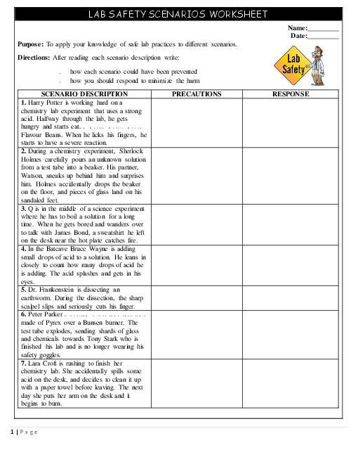safety scenarios worksheet handout teacherlingo year 7 science pinterest worksheets lab. Black Bedroom Furniture Sets. Home Design Ideas