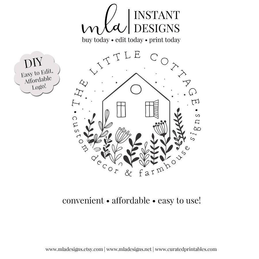 Diy Cottage Logo Template Diy Round Logo Black White Logo Logo