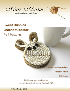 Crochet Colorful: Crochet Coasters Bunny Latte and Cream