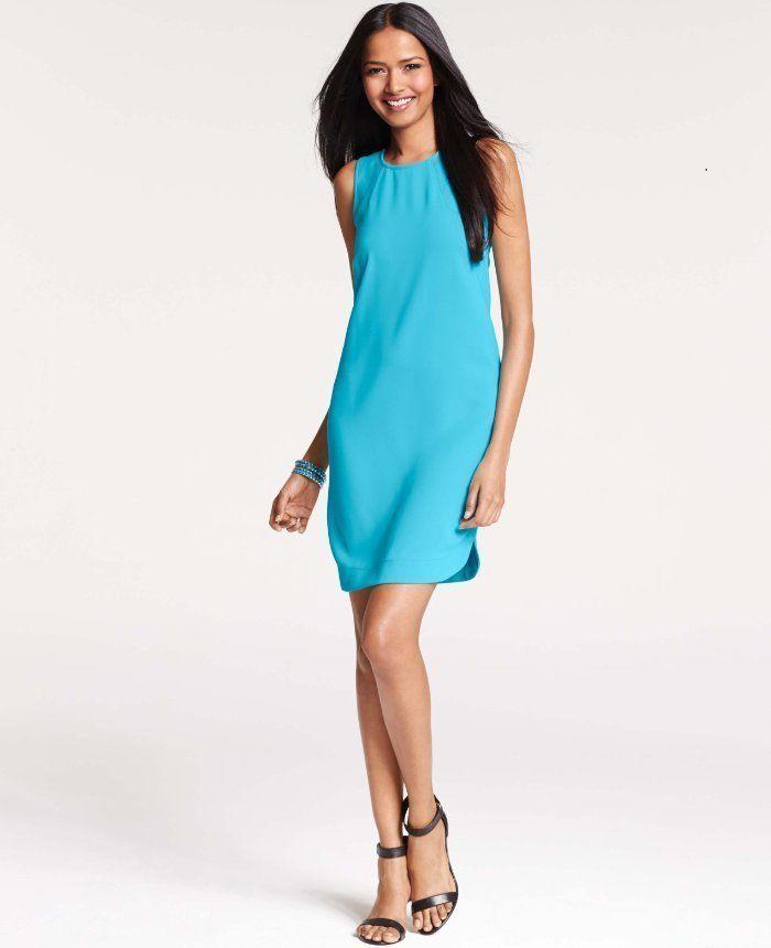 $128 Ann Taylor Shirttail Hem Sleeveless Turquoise Blue Shift Dress ...