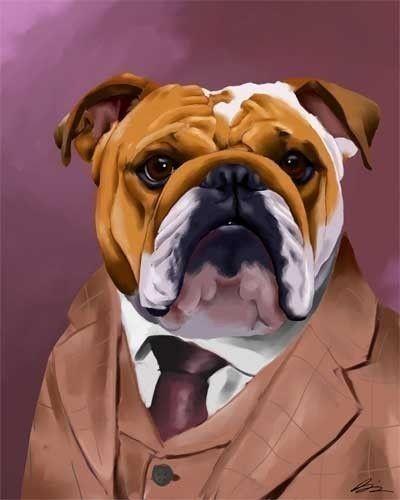 Dog Art Print *** Bulldog w//Cigar CLEARANCE