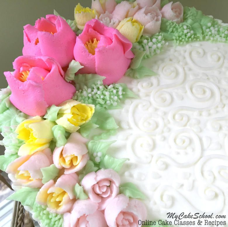 beautiful buttercream flowers featuring russian tips a cake decorating video by mycakeschool - Cake Decorating Videos