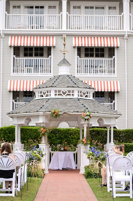 Whimsical ceremony at the Wedding Gazebo in Disney's Yacht Club Resort