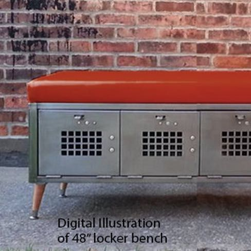 Brushed Steel Locker Storage Bench