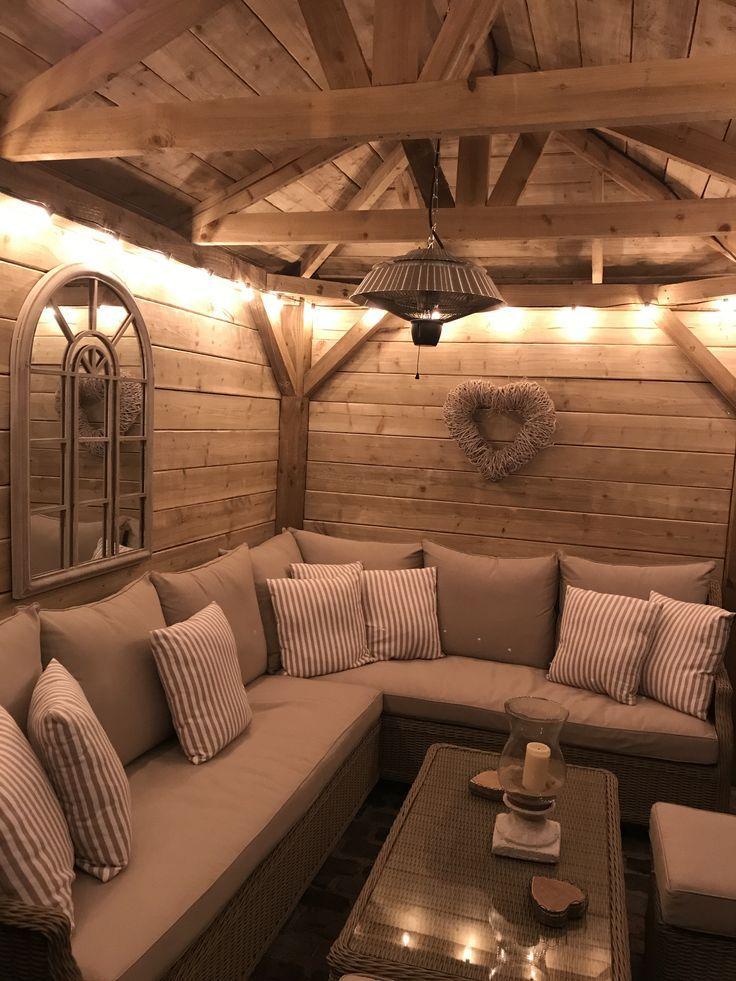 Homemade Wooden Gazebo Garden Lights Outdoor Sofa