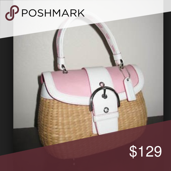 fca4138d805 Coach Charming Straw Bucket Bag Pink White Petite This bag is clean and  delightful. I