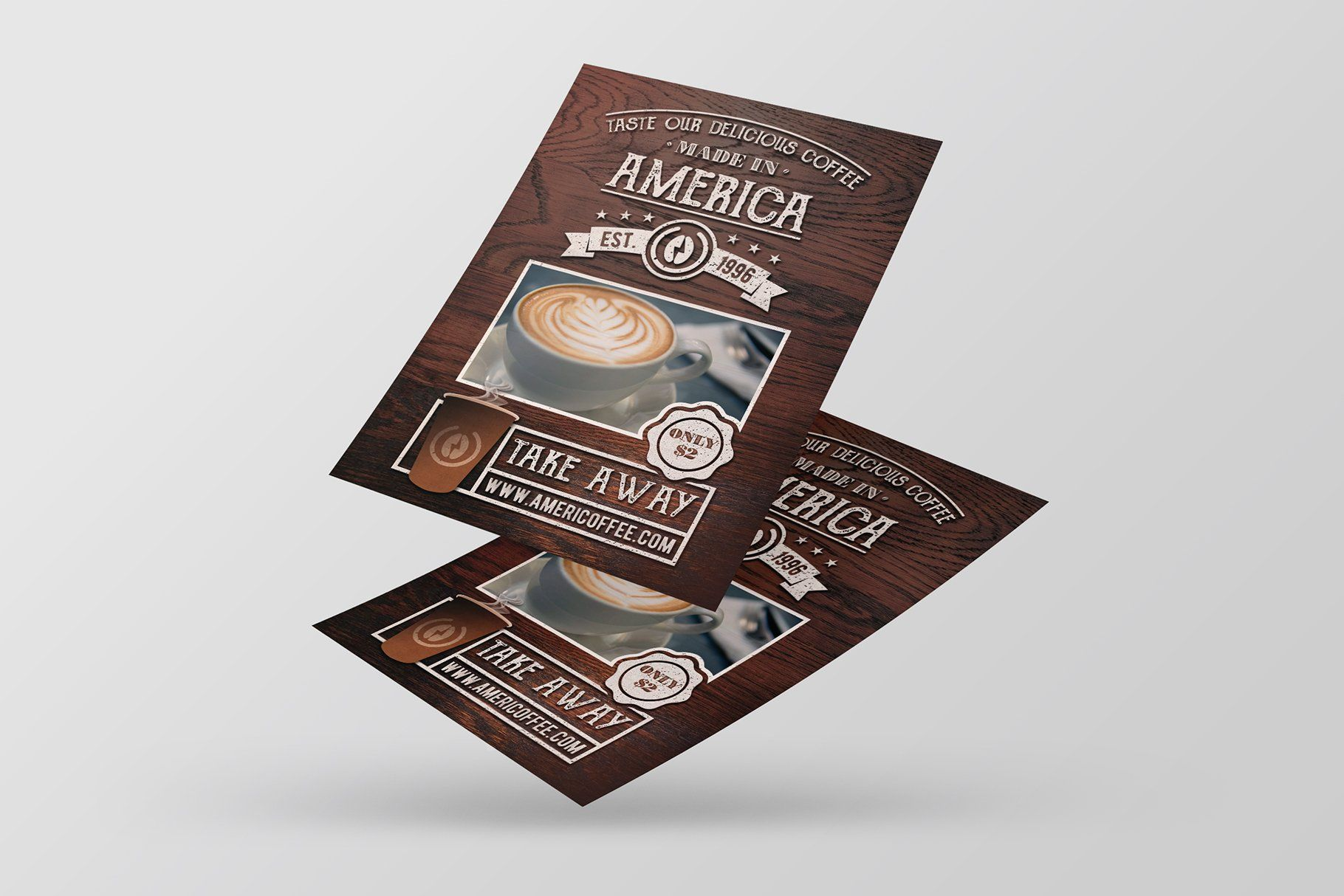 Take Away Coffee Flyer Template in 2020 Flyer template