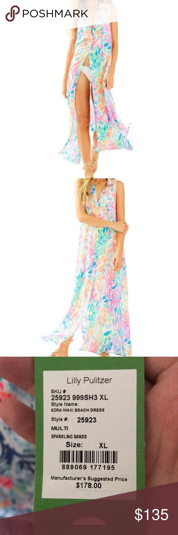 Lilly pulitzer ezra maxi beach dress nwt my posh picks pinterest