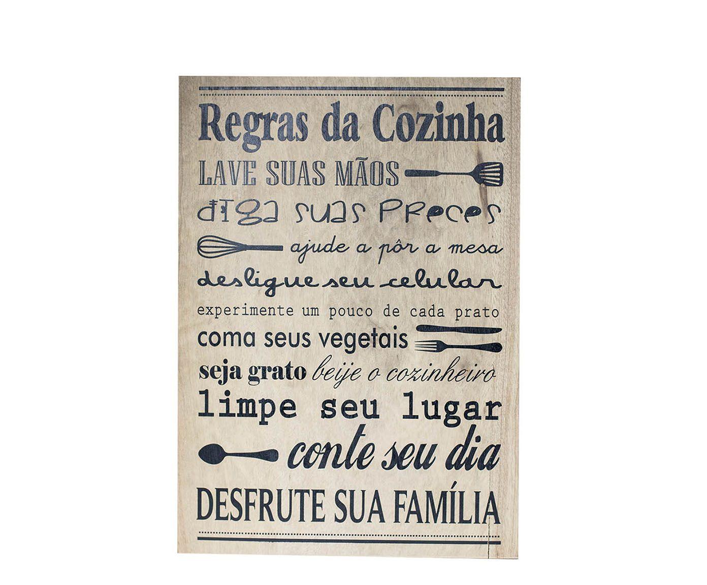 Placa Decorativa Regras Da Cozinha Nuit 25x30cm Westwing  ~ Frases De Limpeza Na Cozinha