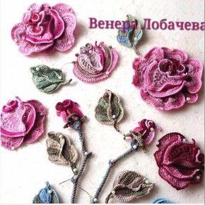 Irish Crochet Roses + Diagrams #irishcrochetflowers
