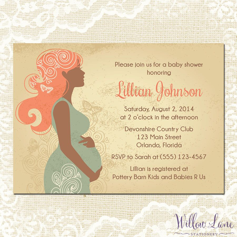 Pregnant silhouette baby shower invitation artistic butterflies pregnant silhouette baby shower invitation artistic butterflies vintage coral turquoise mom to be girl boy gender neutral 1354 printable by filmwisefo