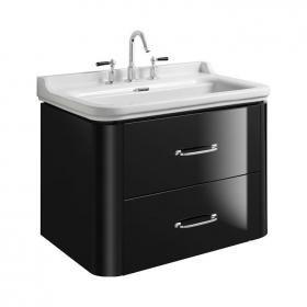 Bauhaus Waldorf 800mm Black Gloss Two Drawer Vanity Unit