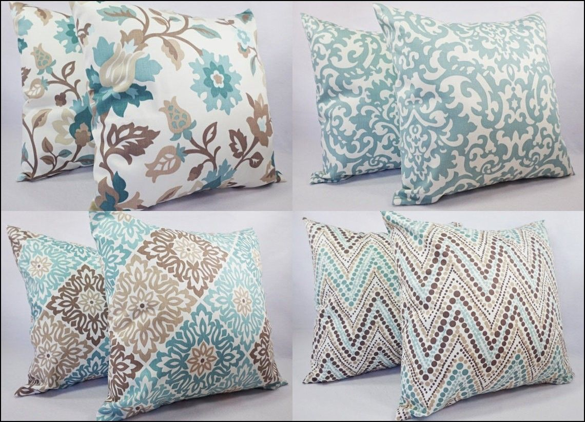 Blue and brown couch pillows house pinterest - Brown sofa with blue pillows ...
