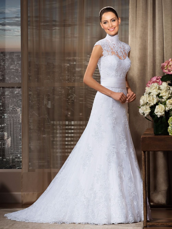 Aliexpress.com: Compre Elegante novo modelo de alta Neck Lace apliques sereia vestidos de casamento de confiança dresse fornecedores em Amanda Novias Wedding Dress Factory